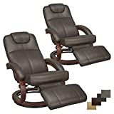 RecPro Charles 28' RV Euro Chair Recliner Modern Design RV Furniture (2, Chestnut)