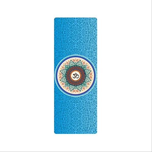 Estera de yoga de goma natural portátil plegable Pilates manta gamuza impresa antideslizante gris