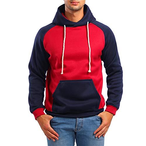 Herren Hoodies, Farblich Abgestimmtes Loose Men Hoodie Sweatshirt Mit Tasche Und Kordelzug Elastizität Warm Men Hooded Pullover