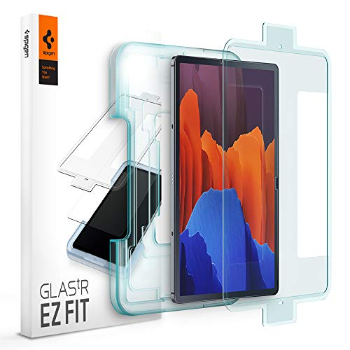 Spigen, Panzerglas Schutzfolie kompatibel mit Samsung Galaxy Tab S7+ (5G), Schablone für Installation enthalten, Hüllenfreundlich, Kristallklar, 9H gehärtes Glas, 0.3 mm, Galaxy Tab S7+ Schutzfolie