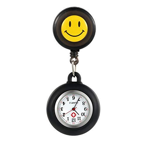 LANCARDO Uhren, Silikon Krankenschwester Armbanduhr FOB-Uhr Damen Lächeln Digitale Analog Revers Stretch verstellbar Länge Taschenuhr (schwarz)