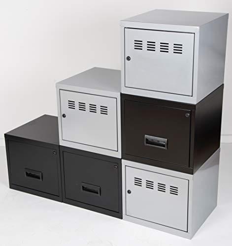 Cube à Porte et Tiroir avec avec Kits de Liaison, Aluminium/Noir, Lot de 6