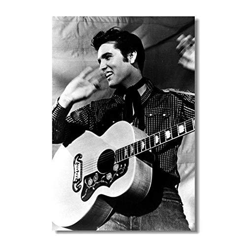 NOVELOVE Wandkunst Bild Elvis Presley Die Hinterwäldler Katze Music Star Poster Drucken Leinwand Malerei Geschenk Ohne Rahmen 40 * 60 cm