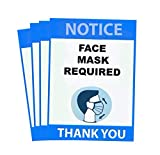 Face Mask Required Sign 4 Pack- 7'x 10' Wall Window Glass Public Safety Social distancing Sticker Decal, Signs for Businesses. Peal Proof, Waterproof, Residue Proof