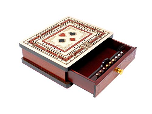 House of Cribbage - 3 Track - 60 Points Non-Continuous Travel Cribbage Board Inlaid in Maple Wood/Bloodwood - Size:6' x 5' - Storage Drawer for Cribbage Pegs & Playing Cards