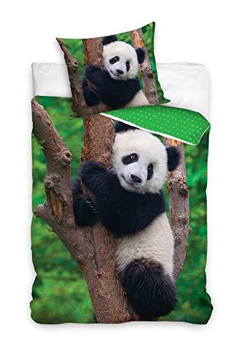 PHU Carbotex Panda-bär Wende-Bettwäsche-Set 135x200 & 80x80 Baumwolle Kinderbettwäsche Bettzeug