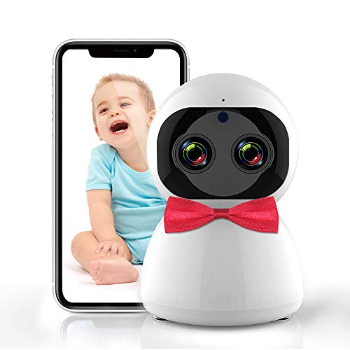 Baby Monitor, Video WiFi Baby Monitor with Night Vision & Audio.1080P Dual HD Camera, Two-Way Talkback Sound-Alert Motion Detection & Track Remote Pan/Tilt/Zoom, Compatible with iOS & Android System