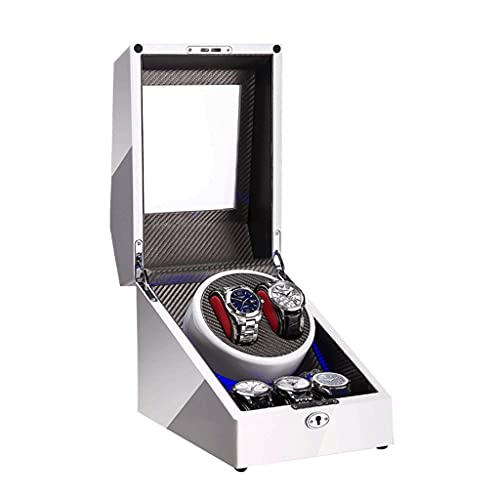 WRNM Cajas Giratorias para Relojes 3 Almohadas Reloj Cuero Suave Bobinado Automático LED Azul Agitador Mecánico Concha Madera Dama Y Hombre En Forma