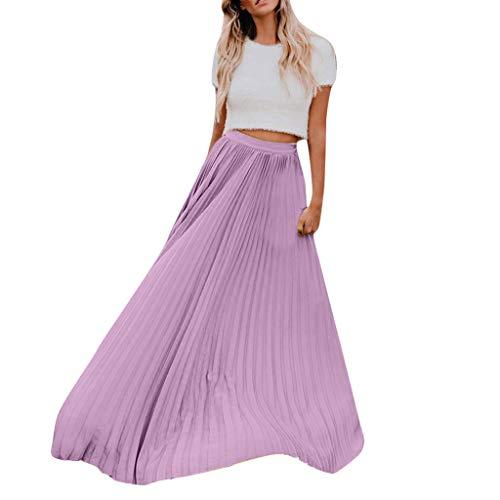 Xmiral Damen Faltenrock Hohe Taille Vintage Falten Vintage Lose Strand Wrap Kleid (2XL, violett)