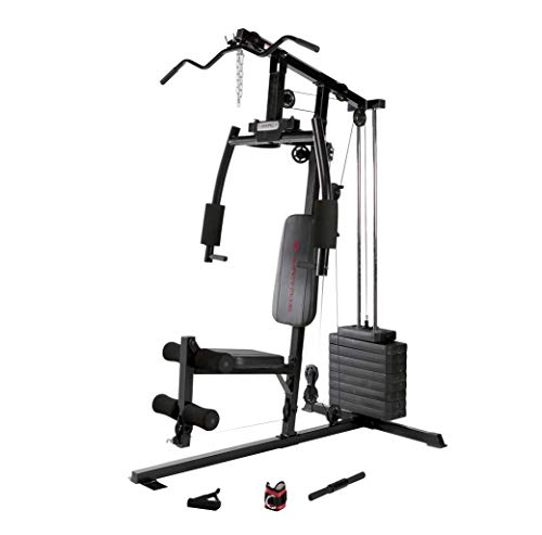 Marcy 120 Lb. Single Stack Home Gym with Pulley, Press Arm, Leg Developer Multifunctional Workout Station for Weightlifting and Body Building MKM-1101 Features Fitness Gyms Home Sports
