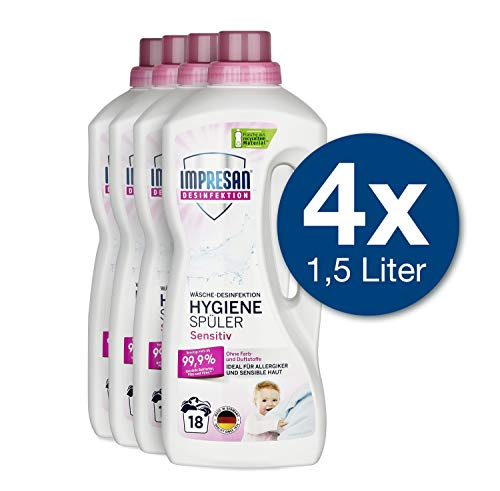 Impresan Hygiene-Spüler Sensitiv: Wäsche Desinfektion ohne Duft- und Farbstoffe – Hygienespüler - 4 x 1,5L