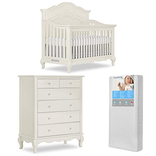 Great Deal! Evolur Aurora 5-in-1 Convertible Crib & Tall Chest with Free 260 Coil Crib/Toddler Mattr...