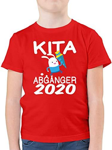 Einschulung und Schulanfang - Kita Abgänger 2020 rennender Hase mit Schultüte - 116 (5/6 Jahre) - Rot - schultüte Jungen - F130K - Kinder Tshirts und T-Shirt für Jungen