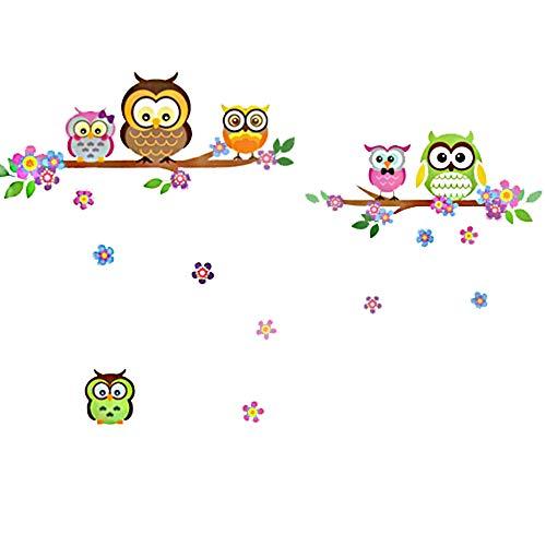 denoda® Eulen, Äste und Blumen - Wandsticker (Owl Wanddekoration Wohndeko Kinderzimmer Baby-Zimmer Jugendzimmer Wohnzimmer niedlich süß)