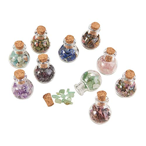 Airssory 30 Pcs Mini Glass Wishing Bottle Tumbled Gemstone Crystal Chips Healing Reiki Stones with Cork Stopper Set for Jewelry Necklace Making DIY Craftings Home Room Decoration - 28mm