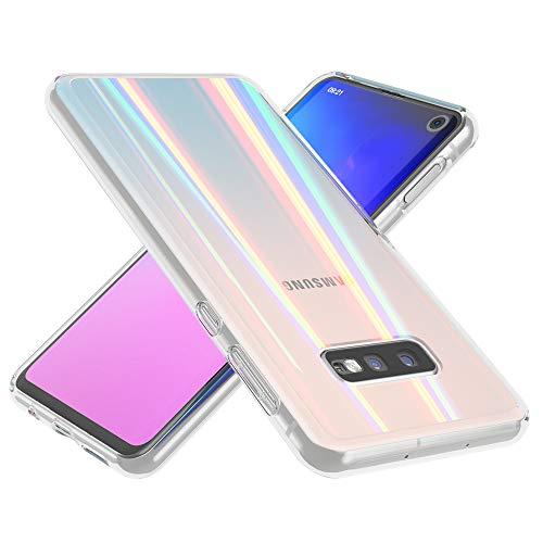 NALIA Hartglas Hülle kompatibel mit Samsung Galaxy S10e, Transparentes Regenbogen Hardcase aus Tempered Glass mit Silikon Bumper, glänzende stoßfeste und Kratzfeste Handyhülle Cover Hülle Schutzhülle