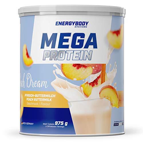 Energybody Mega Protein Peach Dream | Eiweiß-Pulver + Milch-Eiweiß (Casein) + Molken-Eiweiß (Whey) | Muskelaufbau | Pfirsich-Buttermilch | 39 Portionen, 975g