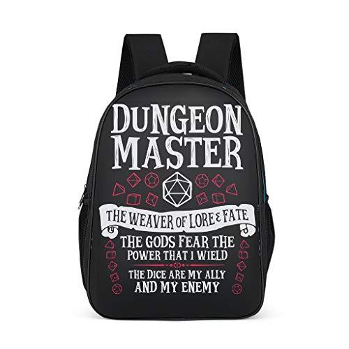 Ouniaodao Dungeon Master Sac à Dos d'écolier léger et imperméable Motif Texte Blanc Taille Unique Gris