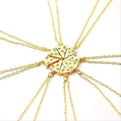 ZGYFJCH Co.,ltd Collar 8 Unids/Set Pizza Queso Colgantes Collares Collar de Amistad de Metal Mejores Amigos para Siempre Recuerdo Regalo de Cumpleaños