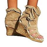 Minetom Sandalias con Borlas para Mujer Tacón De Cuña Sandalias Romanas De Gladiador Bohemio Sandalias De Verano Botines Zapatos De Playa A Caqui 37 EU