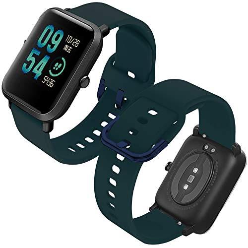 Th-some Correa para Amazfit GTS Impermeable Universal - Reemplazo de Pulsera Ajustable para Xiaomi Huami Amazfit Bip/Amazfit Bip bit Lite Youth/Amazfit GTR 42mm Watch, Sin Tracker (Verde)