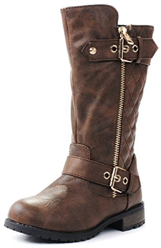 J.J.F Shoes Kids Girls Mango21 Brown Dual Buckle/Zipper Quilted Mid Calf Motorcycle Boots-4