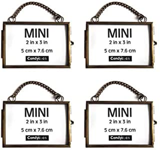 CandyCoCo 2x3 Metal Picture Frame Extra Hanging Mini Photo Frame for Family Tree (Bronze Horizontal, Set of 4)