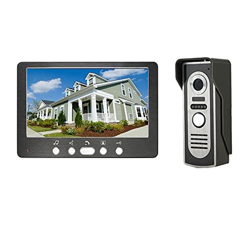 Timbre con video, intercomunicador, sistema de entrada con visor de puerta con cable, videoportero, seguridad en el hogar, cámara de visión nocturna por IR + monitor de 7 pulgadas