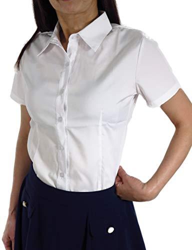 ブラウス An.Shulla カッターシャツ 白 13サイズ(XS〜8XL) ワイシャツ スーツ 長袖 ビジネス 制服 (半袖白, 3XL)
