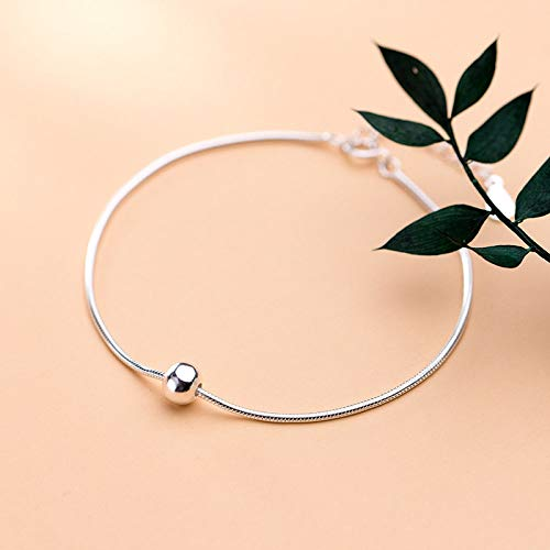 Sterling Silver Bracelet,S925 Sterling Silver Circle Bracelet Glossy Beads Smooth Snake Chain 6.8&Quot;8.2&Quot;Simple Unisex Adjustable Bangle Jewellery For Ladies Mum Wife Friends Anniversary Birt