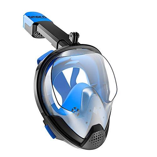 RatenKont Mascarilla de Snorkel de Cara Completa Hombres y Mujeres Máscara de Buceo Anti-Niebla Gafas Natación Anti-Ultravioleta Máscara de Snorkel Blue S/M