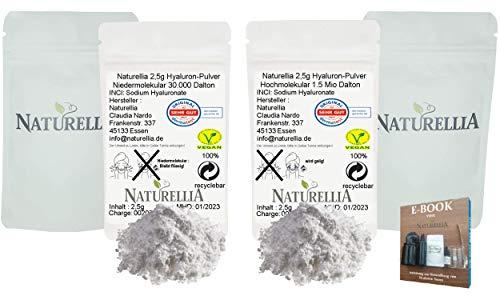Naturellia 5g Vegan Hyaluronsäure Pulver pur Duo Hochdosiert 2,5g Hyaluron Pulver Hochmolekular & 2,5g Hyaluron Pulver Niedermolekular für Kosmetik Seren Creme Herstellung geeignet
