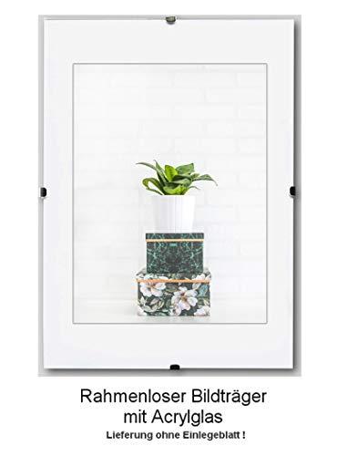 Clippo Rahmenloser Bildhalter Posterrahmen Cliprahmen 40x80 cm Grössenwahl 80x40 cm mit klarem 1mm Kunstglas