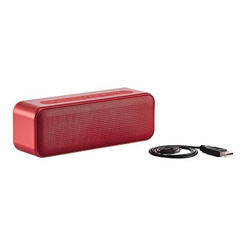 AmazonBasics – Bluetooth-Stereo-Lautsprecher mit wasserabweisendem Design, 15 W, Rot