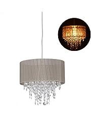 Relaxdays Lámpara Colgante de Cristal, Pantalla de Organza, E27, Iluminación de Techo, 129x32cm, 1 Ud, Gris & Plateado, Plástico-Tejido-Metal