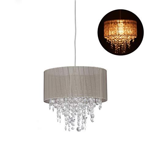 Relaxdays hanglamp kristal, lampenkap van organza, E27, woonkamer, hanglamp, HxD: 129 x 32 cm, grijs/zilver