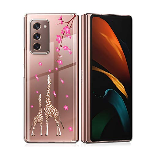 LSL Samsung Galaxy Z Fold 2 5G Case Clear Peach Blossom and Giraffe Floral Cute Design Pattern Hard PC Shockproof Protection Full Body Protection Wireless Charging Cover for Galaxy Z Fold 2 7.6 Inch