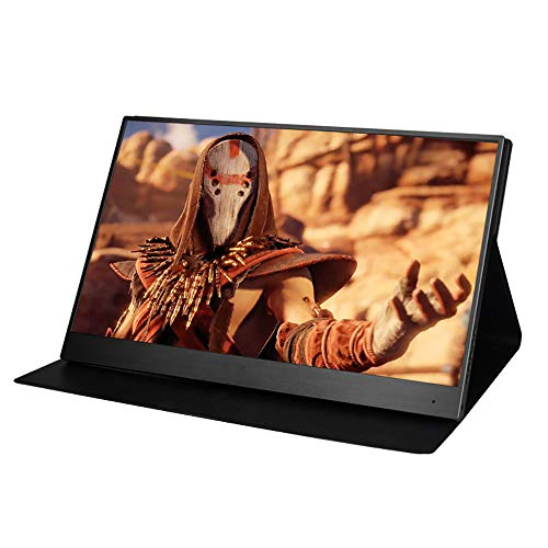 HLKYB Tragbarer Monitor - 15,6 Zoll Full HD 1080P USB-Typ-C-Computermonitors IPS Eye Care-Bildschirm mit HDMI Typ C-Lautsprecher für Laptop PC PS4 inklusive Smart Cover