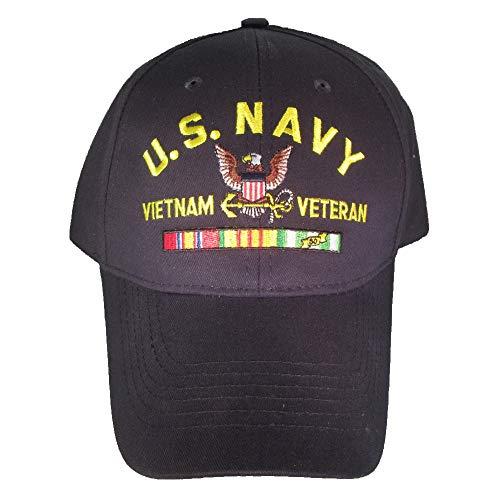 Armed Forces Depot U.S. Navy Vietnam Veteran with Ribbons Baseball Cap hat. Navy Blue