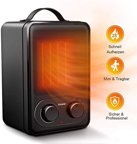 Dook 1800 W/850 W convector, draagbare kamerverwarmer, ventilator met verstelbare thermostaat en oververhittingsbeveiliging, elektrische radiator voor op kantoor en thuis