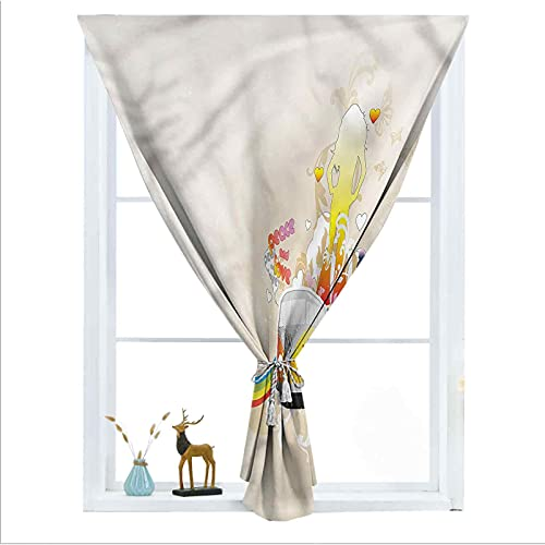"""ousente Hippie Decorative Room Darkening Small Curtains, Minivan Peace and Love 60s Detachable Top Curtains Privacy Curtain Panels with Bouns Sticky Strap for Easy Installation, 24"""" x 39"""""""