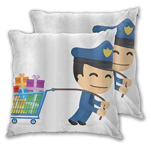 DECISAIYA 2 Pack Fundas de Cojines,Police Party Oficial de policía con un montón de Regalos Felicitaciones Alegre Tema navideño,Fundas de Almohada Decorativas cuadradas para sofá Hotel 50x50cm