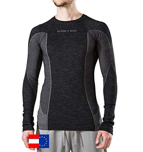 Merino & More Merino Skiunterwäsche Herren - Premium Funktionsunterwäsche aus Merinowolle - Langarm - Funktionsunterhemd schwarz-grau Gr. XL