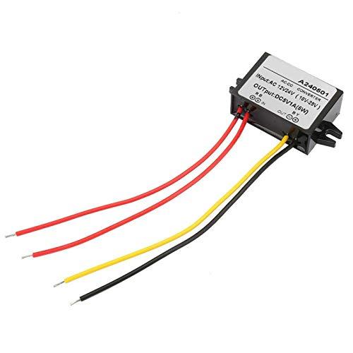 Convertidor de fuente de alimentación, AC 12V 24V a DC 5V Buck Converter Módulo de fuente de alimentación AC-DC para ventilador, bomba de agua, motor, enrutador(1A)