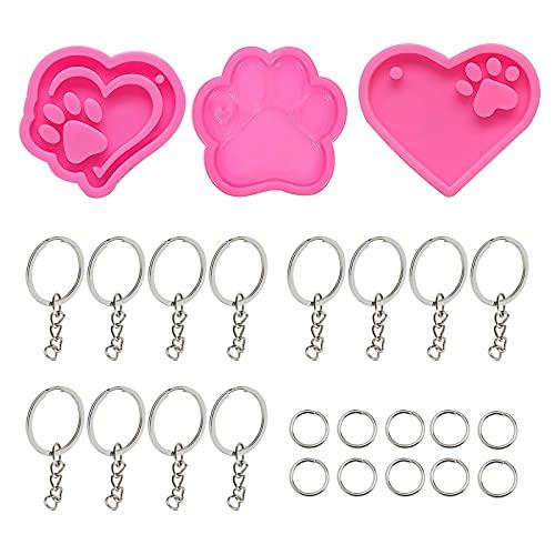 3 moldes de silicona con forma de corazón de pata de perro, colgantes de oso rosa, 12 unidades, con...