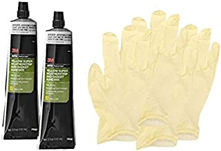 3M Yellow Super Weatherstrip and Gasket Adhesive Tube (5 oz) Bundle with Latex Gloves (6 Items)