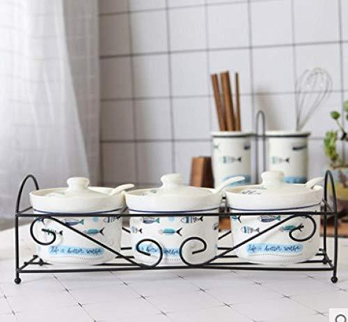 Barattoli Portaspezie Zuccheriera In Ceramica Casa Cucina Cactus Foglie Vasetti Per Condimenti Al Sale Con Cucchiai