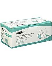 NUÜR Niet-medisch 3-laags wegwerpbaar, gezichtsmaskers voor algemeen gebruik, met elastische oorhaak, eenheidsmaat, geschikt voor alles (pak van 50 stuks)