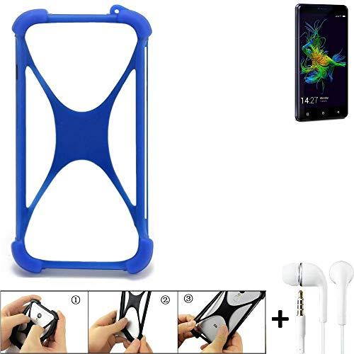 K-S-Trade® Bumper Für Allview P8 Energy Mini Schutzhülle Handyhülle Silikon Schutz Hülle Cover Case Silikoncase Silikonbumper TPU Softcase Smartphone, Blau (1x), Headphones