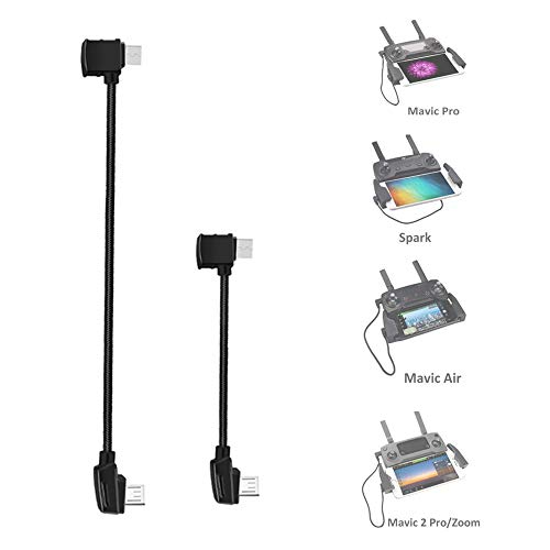 O'woda Micro USB a Android Micro USB Cable de Datos 25cm + 12.5cm Trenzado de Nylon Conector de Datos para dji Mavic Pro / Mavic Air / Spark / Mavic 2 Pro y Zoom